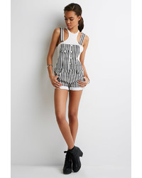 White Vertical Striped Denim Overall Shorts