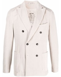 White Vertical Striped Double Breasted Blazer
