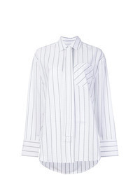 White Vertical Striped Dress Shirt