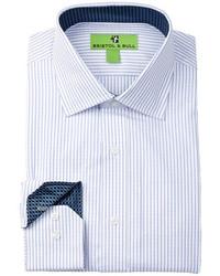 Bristol Bull Fashion Collection Long Sleeve Regular Fit Diamond Textured Stripe Dress Shirt