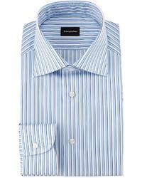Ermenegildo Zegna Shadow Stripe Woven Dress Shirt Whiteblue