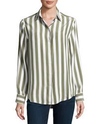Equipment Essential Striped Silk Shirt Whitegreen