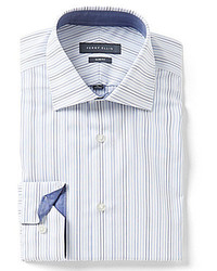 Perry Ellis Non Iron Slim Fit Comfort Spread Collar Striped Dress Shirt