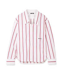 Calvin Klein 205W39nyc Oversized Embroidered Striped Cotton Poplin Shirt