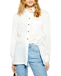 Topshop Self Stripe Oversized Shirt
