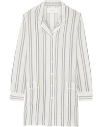 Solid and striped the britt striped basketweave cotton shirt white medium 3666900