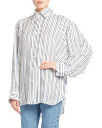 Balenciaga Star Striped Pinch Back Shirt White Pattern