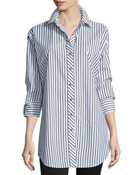 Go Silk Striped Cotton Big Shirt Petite
