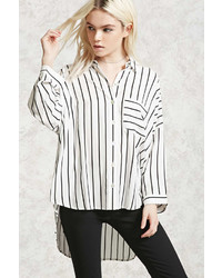 Forever 21 Striped High Low Shirt