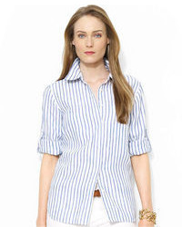 Lauren Ralph Lauren Tab Sleeve Striped Linen Shirt