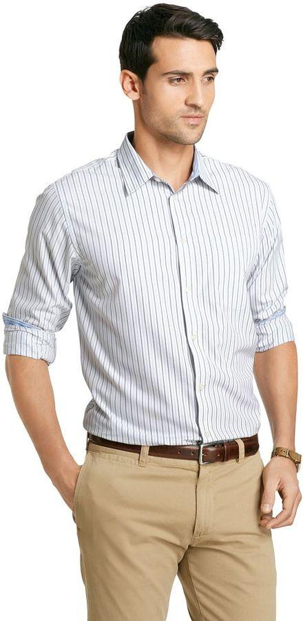 White vertical striped dress shirt van heusen vertical for Vertical striped dress shirt