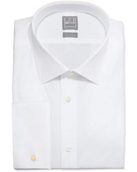 Ike Behar White On White Tonal Stripe Dress Shirt White