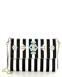 Gianni Bini Jeweled Striped Shoulder Bag