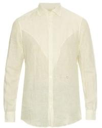 White Vertical Striped Linen Long Sleeve Shirt