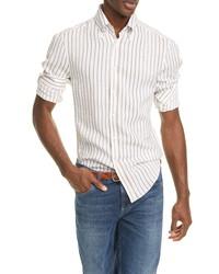 Brunello Cucinelli Slim Fit Stripe Linen Shirt