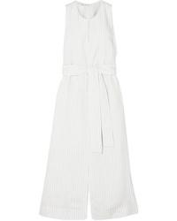 Vince Pinstriped Crepe Midi Dress