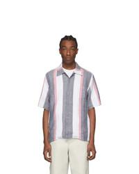White Vertical Striped Linen Short Sleeve Shirt