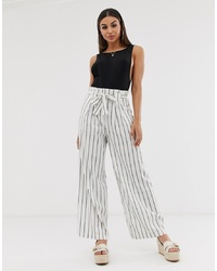 ASOS DESIGN Linen Wide Leg Trousers With Paperbag Waist And Belt In Stripe