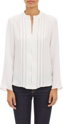Derek Lam Stripe Appliqu Long Sleeve Blouse