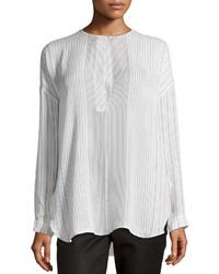 Vince Striped Long Sleeve Silk Blouse Whiteblack