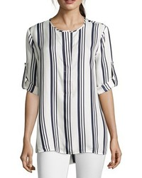 White and blue nautically striped chiffon hi low blouse medium 536204