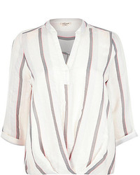 River Island White Stripe Wrap Front V Neck Shirt