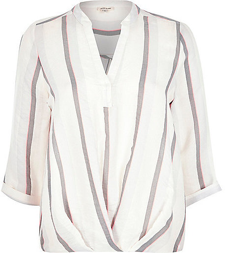 9626129086fabb ... Long Sleeve Blouses River Island White Stripe Wrap Front V Neck Shirt