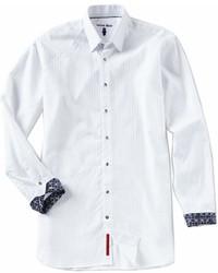 Visconti Big Tall Stripe Jacquard Long Sleeve Woven Shirt