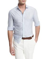 Brunello Cucinelli Mini Striped Long Sleeve Sport Shirt White