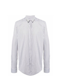 Les Hommes Collar Eyelet Striped Shirt