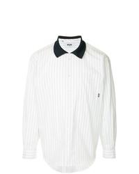 MSGM Contrast Collar Striped Shirt
