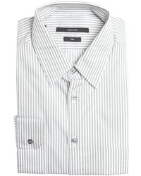 Gucci Grey And White Striped Cotton Point Collar Dress Shirt