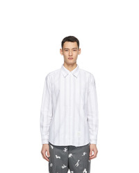 Thom Browne Grey Oxford Straight Fit Bold Rep Shirt