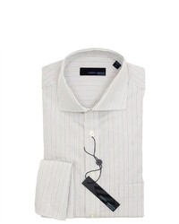 Joseph Abboud White Striped French Cuff Dress Shirt