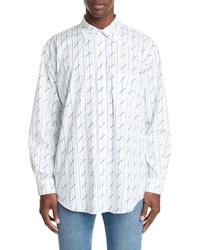 Balenciaga Logo Stripe Poplin Shirt