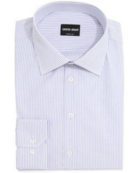 Giorgio Armani Mini Stripe Cotton Dress Shirt Lavenderwhite