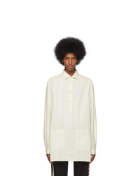 Gucci Off White And Blue Oversized Striped Shirt