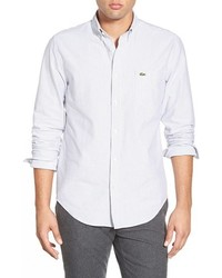 Lacoste Regular Fit Bengal Stripe Oxford Woven Shirt