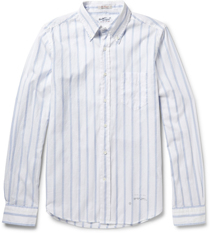 Gant Rugger Button Down Collar Striped Cotton Shirt | Where to buy ...