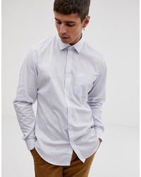 Esprit Slim Fit Long Sleeve Stripe Shirt In White