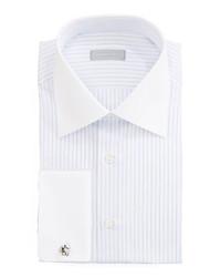 Stefano Ricci Contrast Collar Striped Dress Shirt Whitelavender