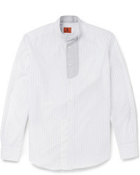 Barena Striped Cotton Grandad Collar Shirt