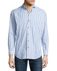 Bogosse Striped Long Sleeve Sport Shirt White