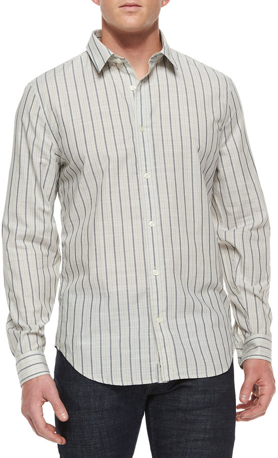 7 For All Mankind Striped Long Sleeve Sport Shirt Whiteblack