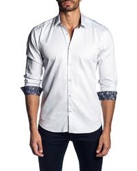 Jared Lang Trim Fit Stripe Sport Shirt