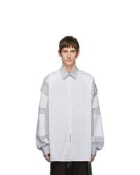 Random Identities White And Grey Zip Pocket Shirt