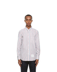 Thom Browne White Tricolor Poplin Straight Fit Shirt
