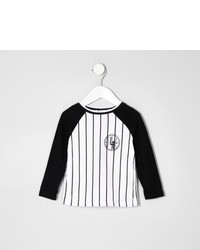 River Island Mini Boys White Stripe Baseball T Shirt