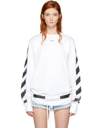 Off-White White Long Sleeve Brushed Diagonal T Shirt