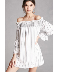 White Vertical Striped Off Shoulder Dress